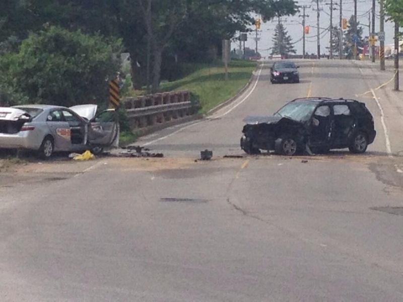 Section of Manitou Dr. near Bleams Rd. closed while police investigate fatal collision. Sunday, June 29. (Marc Venema / CTV Kitchener)