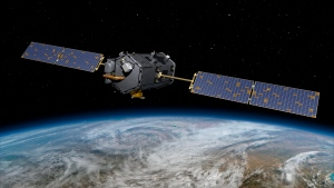 This May 15, 2014, artist concept rendering provided by NASA shows their Orbiting Carbon Observatory (OCO)-2. (AP Photo/NASA/JPL-Caltech)