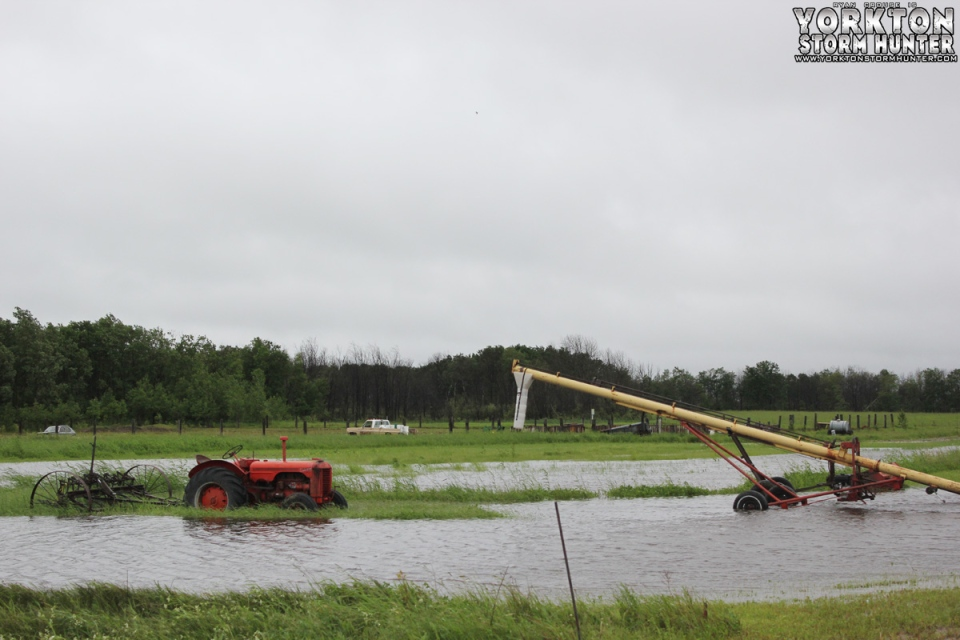 Flooding is seen in Wroxton, Sask., Sunday, June 29, 2014. (Ryan Crouse / MyNews)