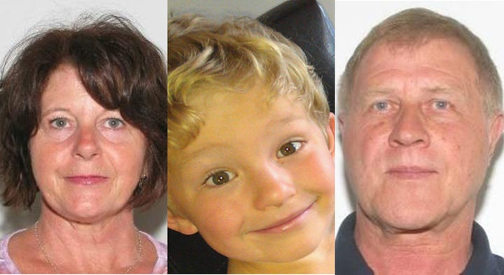 From left to right, Kathryn Faye Liknes, 53, Nathan O'Brien, 5, and Alvin Cecil Liknes, 66, are shown in this combination of photos provided by Calgary police.