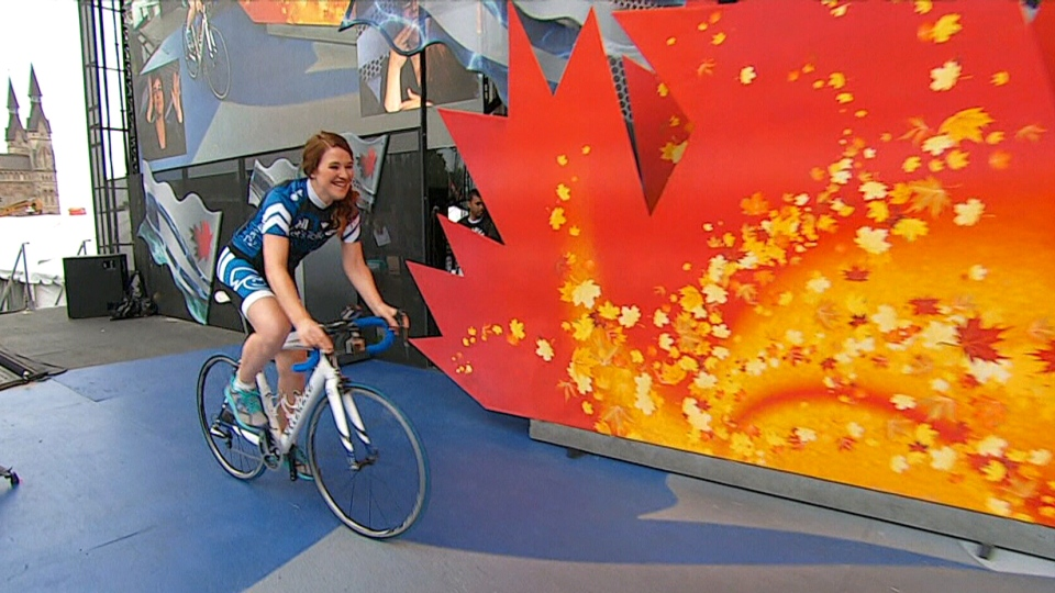 Clara Hughes officially ends her Big Ride at a Canada Day celebration in Ottawa, Tuesday, July 1, 2014.