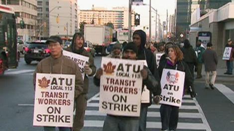 York Region transit workers strike in this undated file photo.