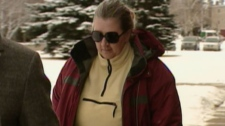 Caron Oderbien outside the Leduc courts on Monday, Dec. 19, 2011