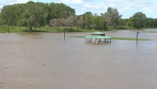 High water levels on the Assiniboine River