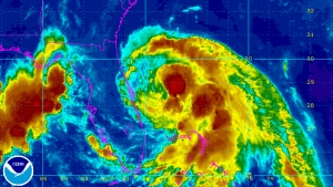 Tropical Storm Arthur is seen in this National Hurricane Center satellite floater image taken at 8:15 a.m. ET on Wednesday, July 2, 2014.
