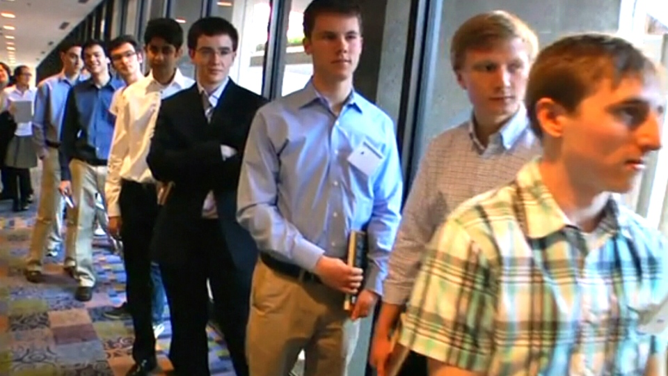 Students line up for the Thiel Fellowship application process in this undated file photo.