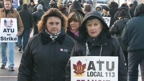 Striking York Region Transit workers hit the picket line in this undated file photo.