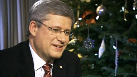 Prime Minister Stephen Harper speaks with Lisa LaFlamme in CTV's annual one-on-one interview in Ottawa on Monday, Dec. 19, 2011.