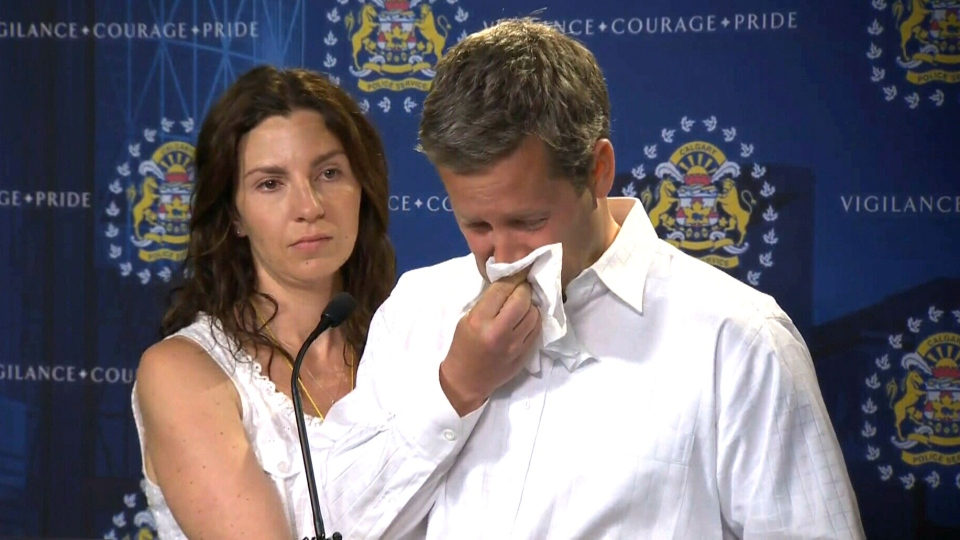 Jennifer and Rod O'Brien, the parents of missing 5-year-old Nathan O'Brien, speaks to the media in Calgary, Wednesday, July 2, 2014.