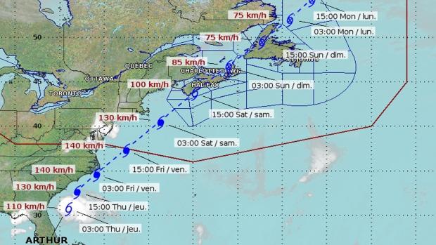 hurricane arthur now category 2 hurricane  atlantic canada