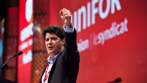 Jerry Dias gives a speech after being declared the first president of the new Unifor union at the Unifor founding convention in Toronto, Saturday, August 31, 2013. (Galit Rodan)