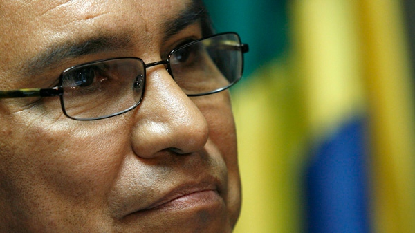 James Anaya, special Rapporteur for the Human Rights commission of the United Nations, speaks during a news conference in Brasilia, Monday, Aug. 25, 2008. (AP / Eraldo Peres)