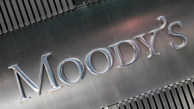 Sign for Moody's Corp. in New York. (Mark Lennihan)