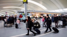 Passengers at Pearson International Airport