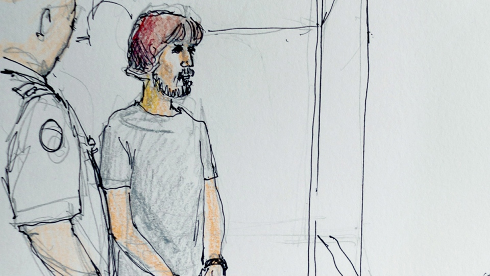 Justin Bourque is shown in a courtroom sketch in Moncton, N.B. on Thursday, July 3, 2014. (Carol Taylor / THE CANADIAN PRESS)