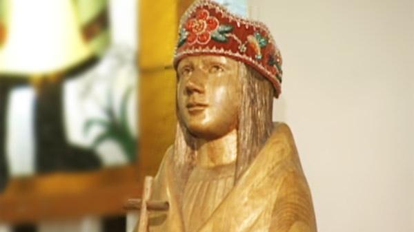 A statuary likeness of Kateri Tekakwitha at St. Francis Xavier Church