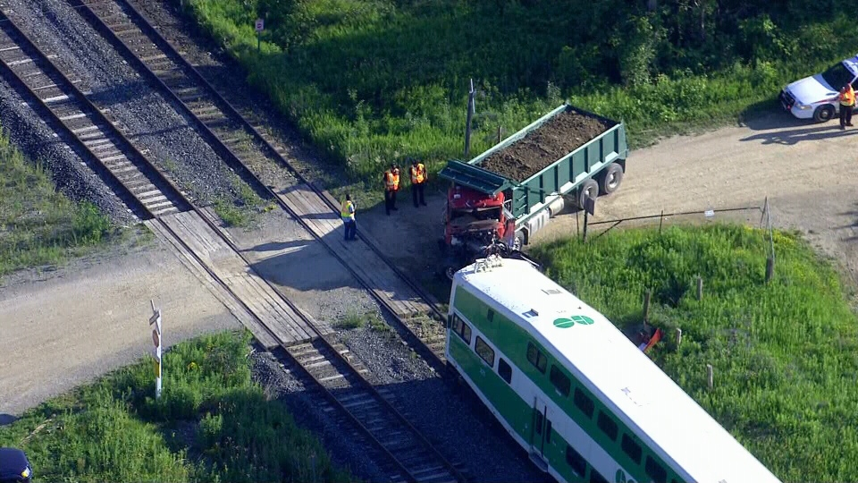 go transit service resumes hours after train collides with