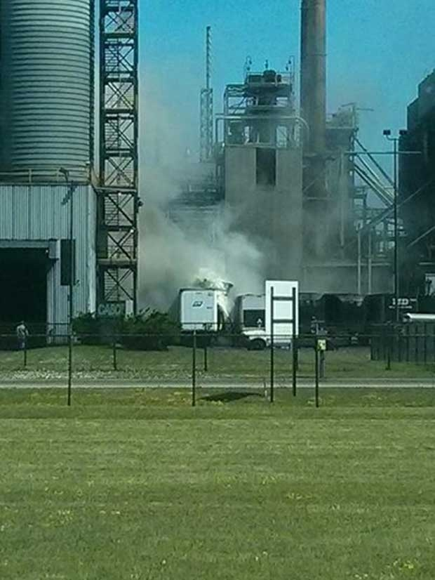 A tractor trailer caught fire as it was being unloaded at Cabot Canada Inc. in Sarnia, Ont. on Friday, July 4, 2014. (Dan Williams / Facebook)