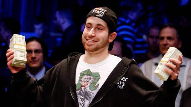 Jonathan Duhamel celebrates winning the World Series of Poker, Monday, Nov. 8, 2010 in Las Vegas. (AP / Isaac Brekken)