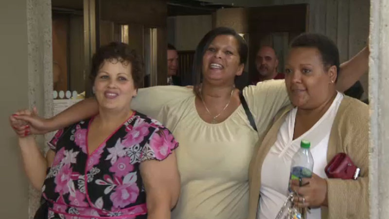 People leave the Supreme Court of Nova Scotia after a judge approved a $29-million settlement in a class-action lawsuit filed by alleged abuse survivors of the Nova Scotia Home for Coloured Children. (CTV Atlantic)