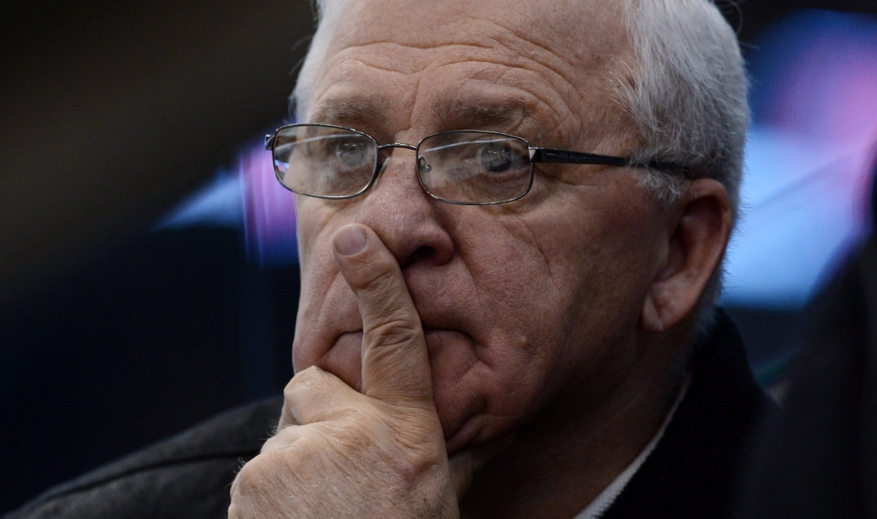 Bryan Murray watches as players take part in training camp in this file photo from Tuesday, January 15, 2013. (THE CANADIAN PRESS/Sean Kilpatrick)