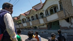 Earthquake-ravaged homes in Guatemala