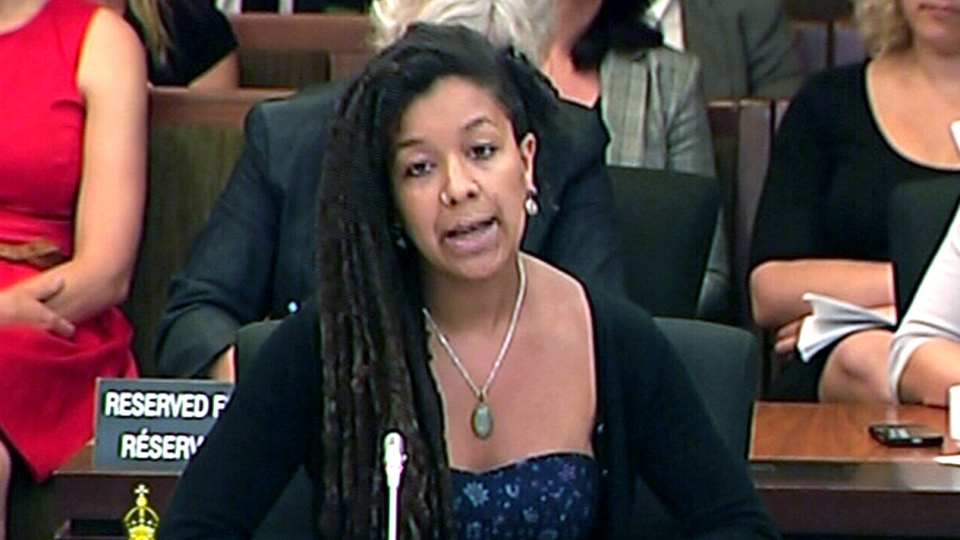 Robyn Maynard from Stella, speaks during a House of Commons committee on Bill C-36 in Ottawa, Tuesday, July 8, 2014.