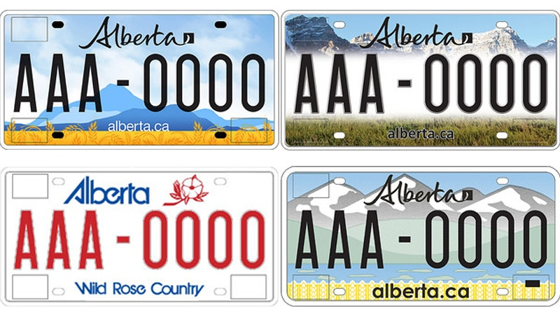 The province launched three new designs for the Alberta licence plate, the old design set to be replaced is shown in the bottom left. Supplied.
