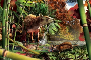 The tapiroid Heptodon drinks in the shallows, while the small proto-hedgehog Silvacola acares stalks its prey in the foreground in this photo illustration. (Handout / Illustration by Julius T. Csotonyi)