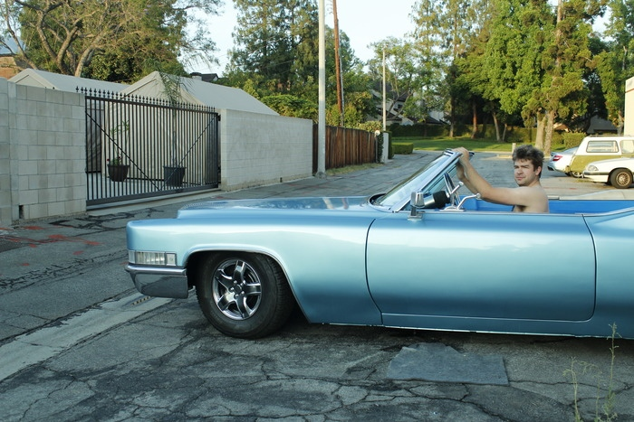 Phillip Weicker in his 'Carpool DeVille' hot tub Cadillac.