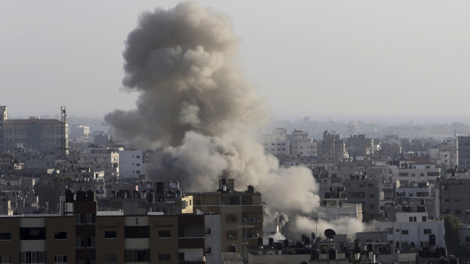 An Israeli missile hits an area in Gaza City on Wednesday, July 9, 2014. (AP / Adel Hana)