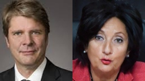 Jacques Bergeron (left) pleads for more powers for auditors in a report submitted to France Charbonneau Thursday. (Image, left IAI-Quebec.ca, right, CP file photo)