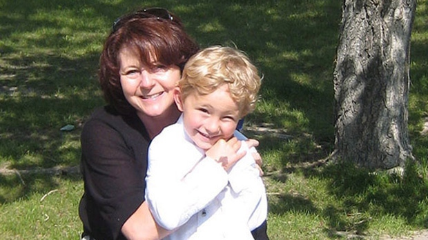 Nathan O'Brien and his grandmother Kathy Liknes are shown in a Calgary Police Service handout photo.