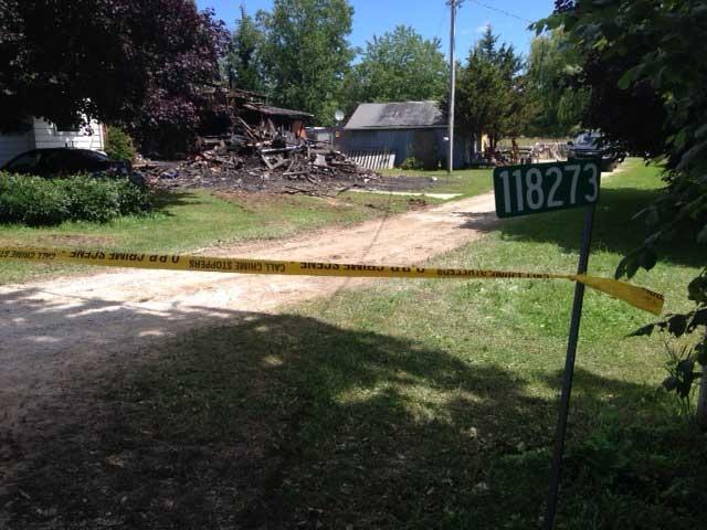The destruction following a farmhouse fire near Owen Sound, Ont. earlier in the week is seen on Thursday, July 10, 2014. (Scott Miller / CTV London)