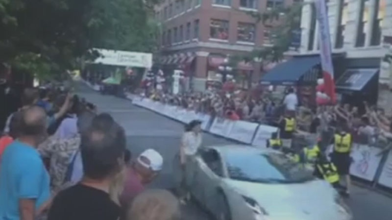 Bystander video shows a Gastown Grand Prix race official being struck by a pace car during Wednesday's race. July 10, 2014.