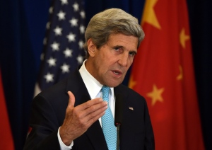 U.S. Secretary of State John Kerry speaks at a press conference following the end of talks at the U.S.-China Strategic and Economic Dialogue, in Beijing on Thursday, July 10, 2014. (AP / Greg Baker)