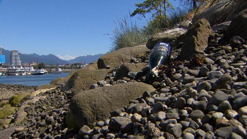 Empty cans and bottles are easy to find on Habitat Island in False Creek.