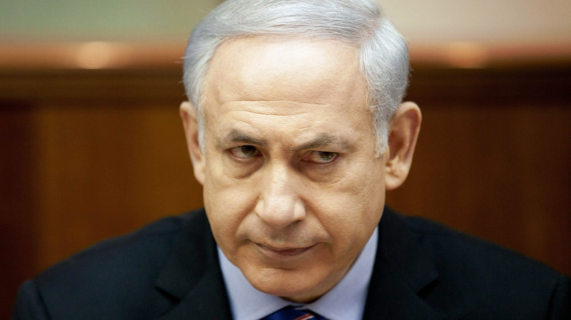 Israeli Prime Minister Benjamin Netanyahu attends the weekly cabinet meeting in Jerusalem, Sunday, Dec. 25, 2011.
