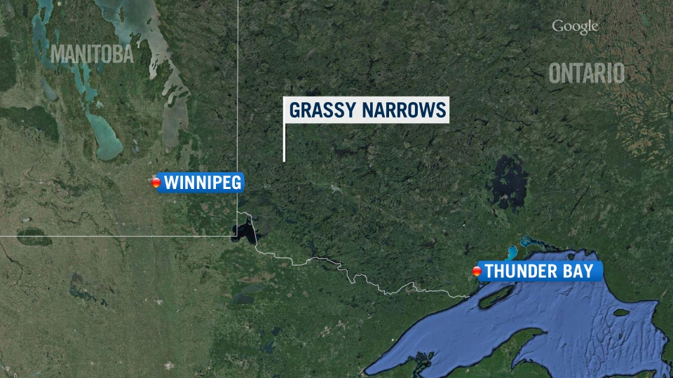 Map showing the location of the Grassy Narrows First Nation in northern Ontario.