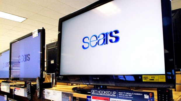 The Sears logo is seen on a television for sale, in Springfield, Ill., on Nov. 15, 2011. (AP / Seth Perlman)