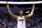 Miami Heat centre Chris Bosh celebrates after the Heat defeated the Brooklyn Nets on May 8, 2014. (AP / Wilfredo Lee)