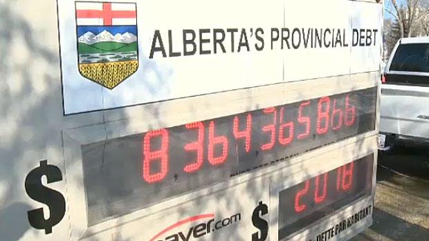 Debt clock in Alberta