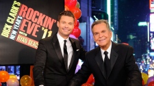 "NO ARCHIVE - In this image released by ABC, Dick Clark, right, and Ryan Seacrest are shown in New York. Clark and Seacrest will celebrate 40 years of history as they host ""Dick Clark's New Year's Rockin' Eve with Ryan Seacrest 2012"" live from ABC Studios in New York on Saturday, Dec. 31, 2011 on the ABC Television Network. (AP Photo/ABC, Ida Mae Astute)"