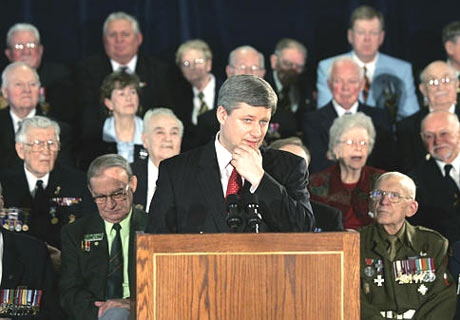 Prime Minister Stephen Harper makes an announcement at The Polish Veterans Branch 412 on April. 3, 2007 in Kitchener, Ont. (CP / Nathan Denette)