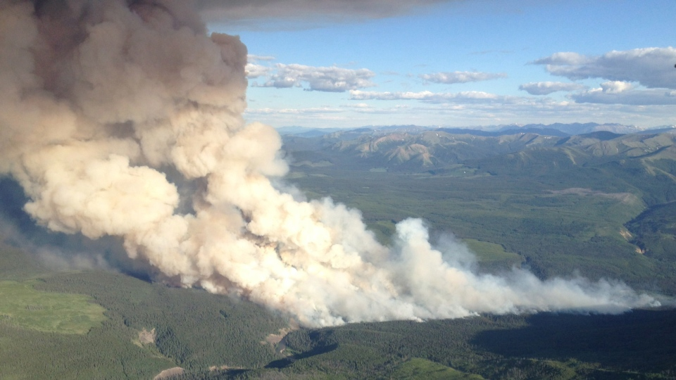 An aerial view of the Red Deer Creek wildfire near the B.C./Alberta boundary is shown in a government of British Columbia handout photo.