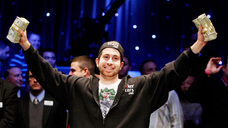 Jonathan Duhamel celebrates winning the World Series of Poker in Las Vegas on Nov. 8, 2010. (AP / Isaac Brekken)