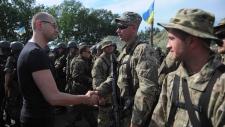 Ukrainian PM meets with troops in Slovyansk