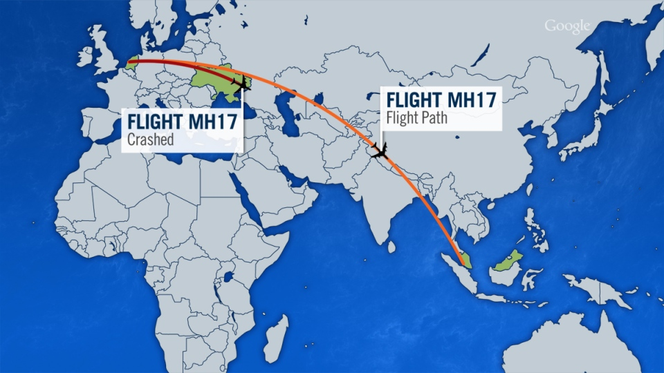 Map shows the flight path of Malaysia Airlines Flight MH17 and where it crashed in eastern Ukraine.