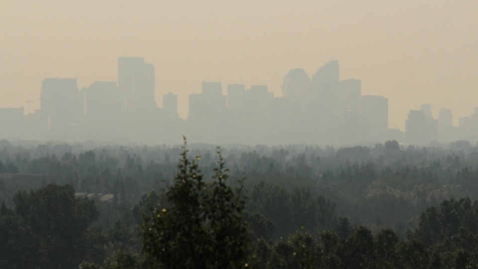 Calgary skyline blocked by wildfire smoke