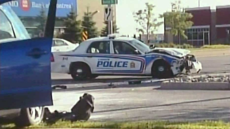 A London police cruiser sits on Fanshawe Park Road in London, Ont., on Thursday, July 17, 2014 after being involved in a collision. (Justin Zadorsky / CTV London)